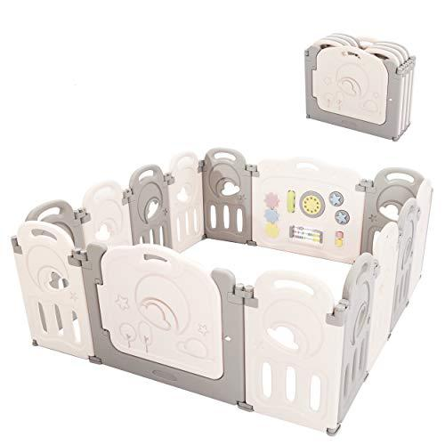 Fortella Cloud Castle Foldable Playpen, Baby Safety Play Yard with Whiteboard and Activity Wall, Indoors or Outdoors (14 Panel)