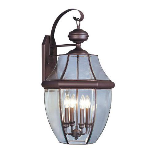 Livex Lighting 2356-07 Outdoor Wall Lantern with Clear Beveled Glass Shades Bronze