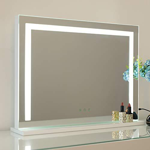 WAYKING Vanity Mirror with Light Strip, Lighted Makeup Mirror with 3 Lighting Colors, USB Charging Port and Touch Sensor, Wall-Mounted and Tabletop Mirror, White (L22.83 x H17.32 inch)…