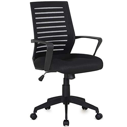 VECELO Premium Mesh Chair With 3D Surround Padded Seat Cushion For Task/Desk/Home Office Work, Black