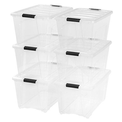 IRIS USA 53 Quart Stack & Pull Box, 5 bins 4 lids