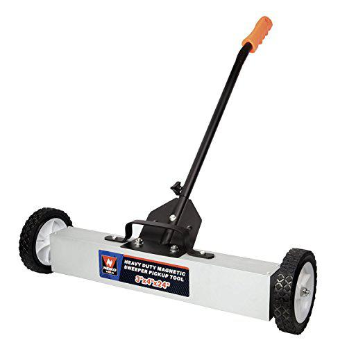 Neiko 53416A Magnetic Pick-Up Sweeper with Wheels 30 Lb, 24 | Adjustable Handle & Floor Clearance