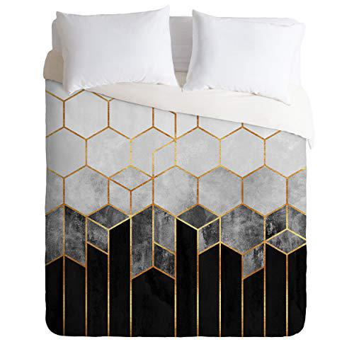 Society6 Elisabeth Fredriksson Comforter Set with Pillowcase(s), Twin/XL, Charcoal Hexagons and White
