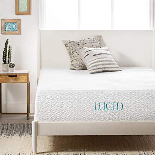LUCID 14 Inch Memory Foam Bed Mattress Conventional, King, Medium