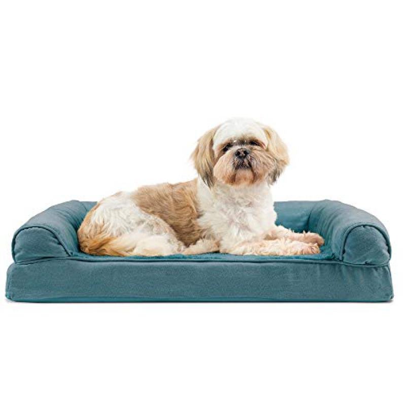 Furhaven Pet Dog Bed - Orthopedic Ultra Plush Faux Fur and Suede Traditional Sofa-Style Living Room Couch Pet Bed with Removable Cover for Dogs and Cats, Deep Pool, Medium