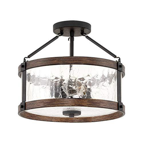 Kira Home Hadley 14 3-Light Modern Farmhouse Semi-Flush Mount Ceiling Light Fixture + Crackled Glass Shade, Textured Black + Wood Style Walnut Finish