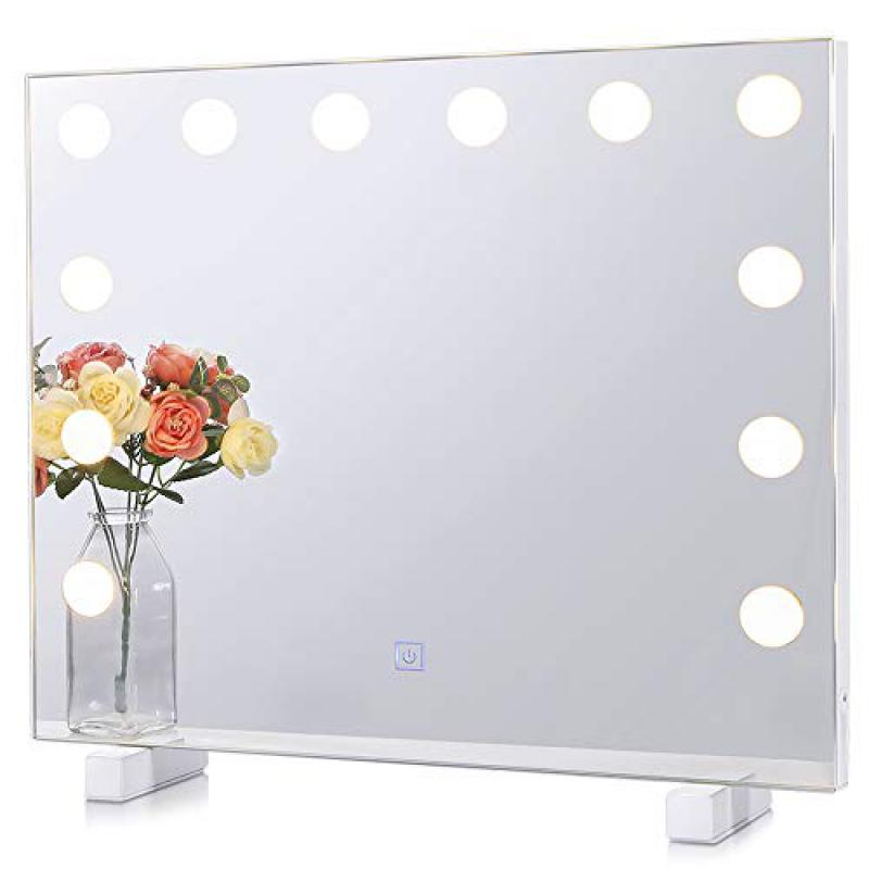 Chende Dimmable Lighted Mirror with 3 Color Changing, Frameless Mirror with Lights for Bedroom Bathroom Makeup Vanity, Light up Hollywood Vanity Mirror, Wall Mounted or Tabletop