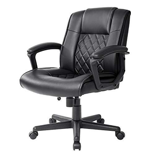 Qulomvs Ergonomic Office Desk Chair with Wheels Back Support Computer Executive Task Chair with Arms 360 Swivel (Black)