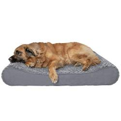 Furhaven Pet Dog Bed - Orthopedic Ultra Plush Faux Fur Ergonomic Luxe Lounger Cradle Mattress Contour Pet Bed with Removable Cover for Dogs and Cats, Gray, Jumbo Plus