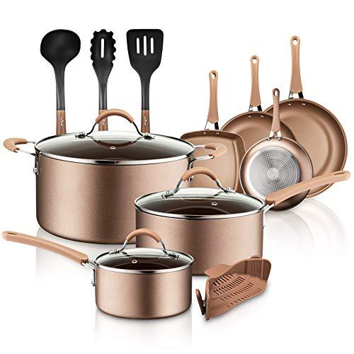 NutriChef 14-Piece Nonstick Cookware PTFE/PFOA/PFOS-Free Heat Resistant Lacquer Kitchen Ware Set w/Saucepan, Frying Pans, Cooking, Dutch Oven Pot, Lids, Utensil