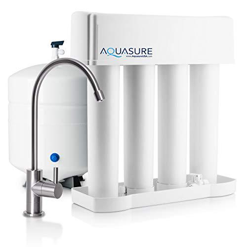 Aquasure AS-PR75A-BN Premier Reverse Osmosis Water Filtration System - 75 GPD High Contaminants TDS Rejection Membrane with Quick Change Water Filter and Brushed Nickel Finished Faucet