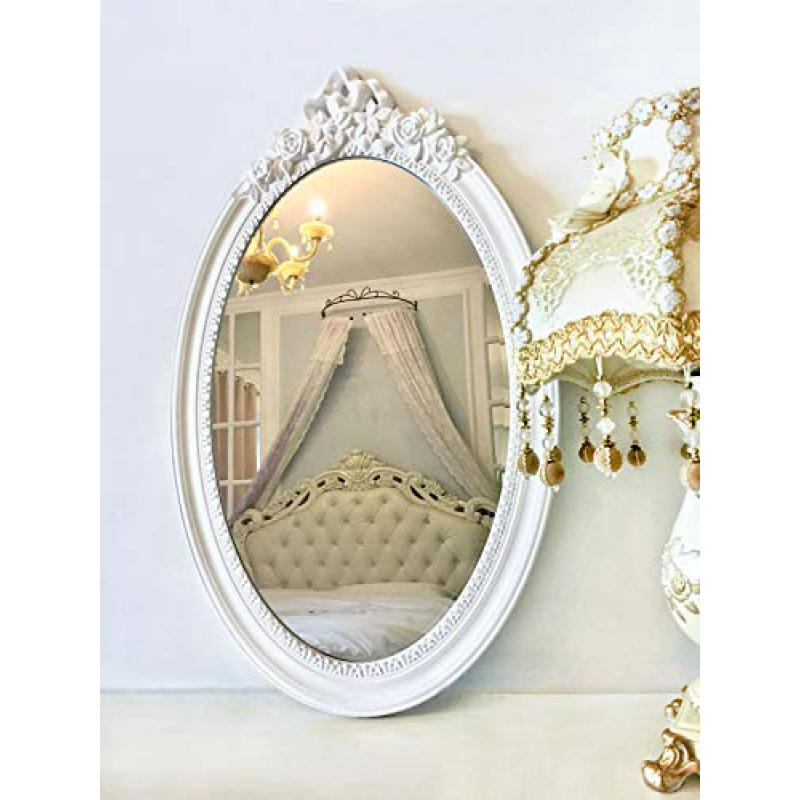 Basswood Hunters 25x 16 Large Oval Vintage Decorative Wall Mirror, White Wooden Crown Frame, Antique Princess Decor for Bedroom,Playroom,Dressers,Living Room