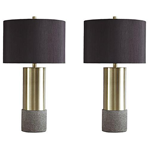 Signature Design by Ashley - Jacek Table Lamps - Set of 2 - Contemporary - Gray/Brass Finish