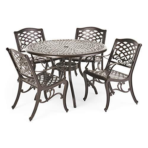 Christopher Knight Home Hallandale Outdoor Cast Aluminum table