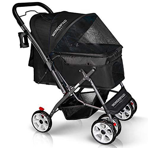 WONDERFOLD Pet P1 4 Wheels Folding Pet Stroller for Dogs/Cats with Reversible Handle Bar, Zipperless Entry, Easy One-Hand Fold with Removable Liner, Storage Basket, Cup Holder (Jet Black)