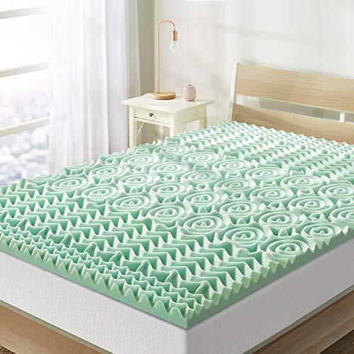 Best Price Mattress Queen Mattress Topper - 1.5 Inch 5-Zone Memory Foam Bed Topper Aloe Infused Cooling Mattress Pad, Queen Size,5ZMF-15QA,Green
