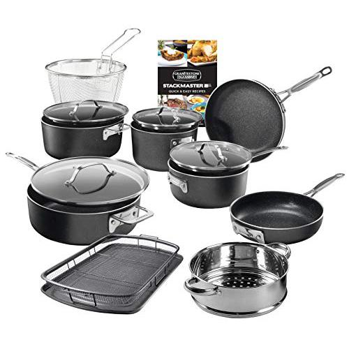 GRANITESTONE Stackmaster 15 Piece Induction-compatible, Nonstick Cookware Set, Scratch-Resistant, Granite-coated Anodized Aluminum, Dishwasher-Safe, PFOA-Free As Seen On TV