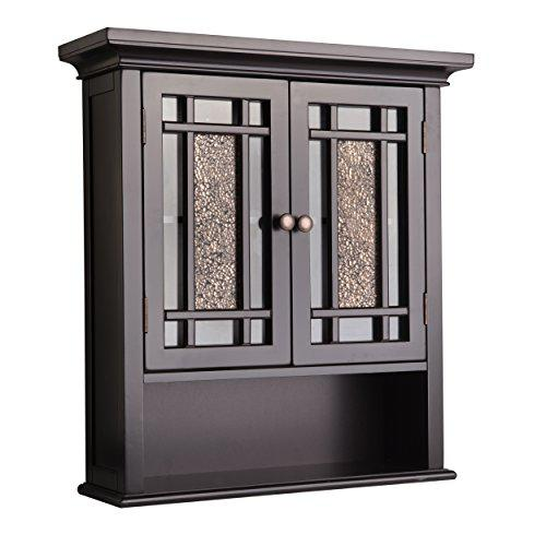 Elegant Home Fashions Windsor Wall Mounted Medicine Cabinet Bathroom Above Toilet Storage with Mosaic Doors Open Shelf and Adjustable Shelf, Dark Espresso