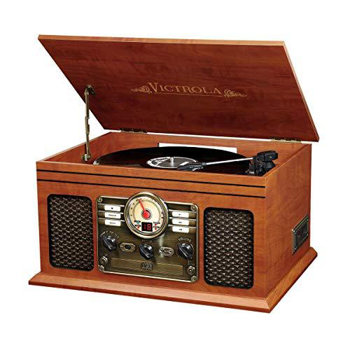 Innovative Technology VTA-200B MH Victrola Nostalgic Classic Wood 6-in-1 Bluetooth Turntable Entertainment Center, Mahogany