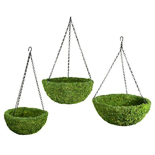 SuperMoss (29320) MossWeave Hanging Basket - Round, Fresh Green, Set of 3 (S/M/L)
