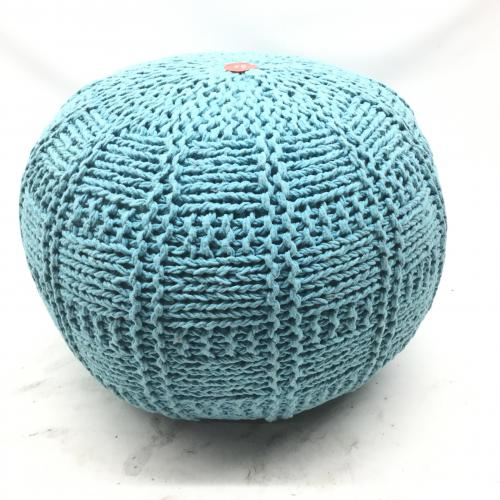 Christopher Knight Home Valentine Hand Knit Fabric Pouf (Blue)