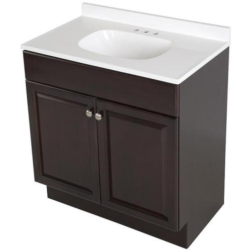 Project Source 30-in Java Single Sink Bathroom Vanity with White Cultured Marble Top