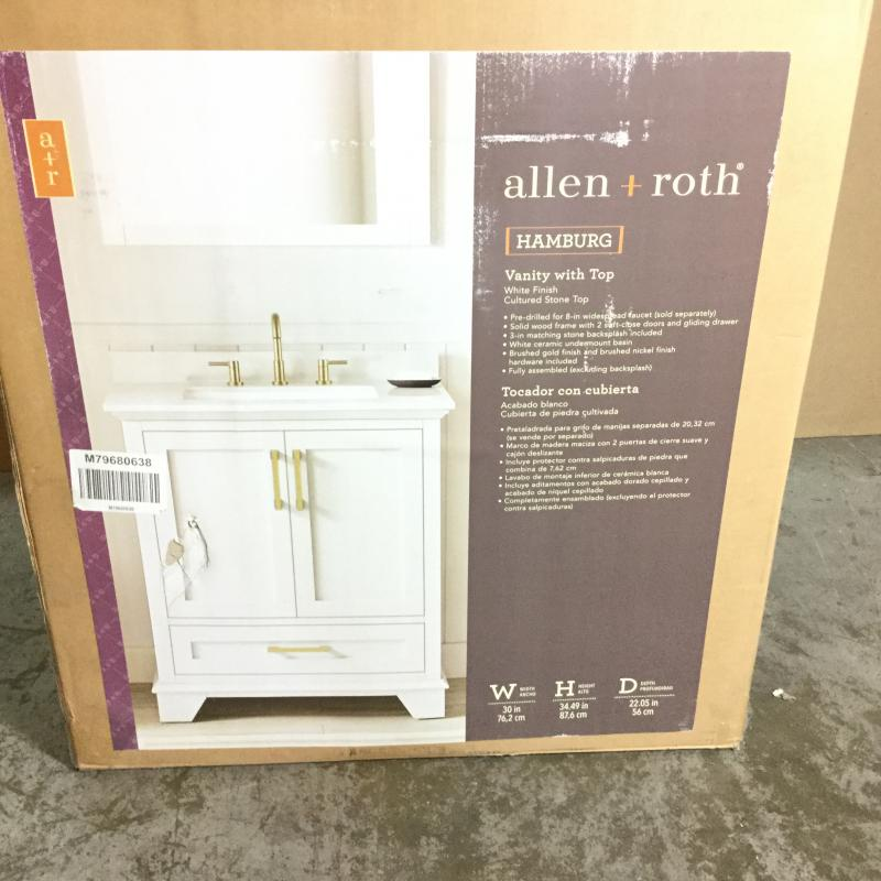 Allen Roth Hamburg 30 In White Single Sink Bathroom Vanity With White Cultured Marble Top