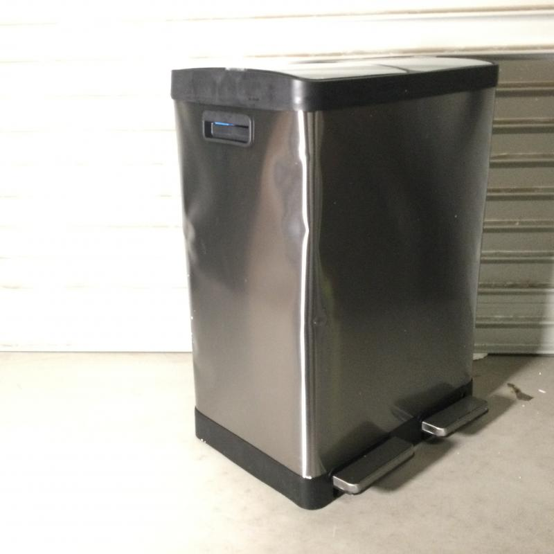 iTouchless 16 Gallon Dual Step Trash Can & Recycle Bin, Stainless Steel includes 2 x 8 Gallon (30L) Removable Buckets, Soft Close Lid and Airtight