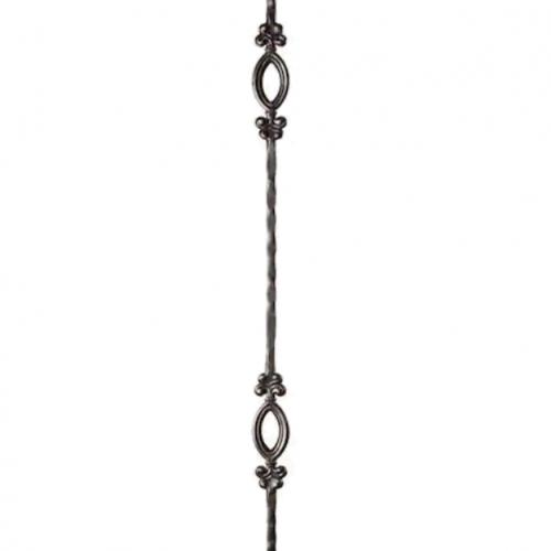 House of Forgings Tuscan Hammered 44-in Satin Black Wrought Iron Classic Stair Baluster