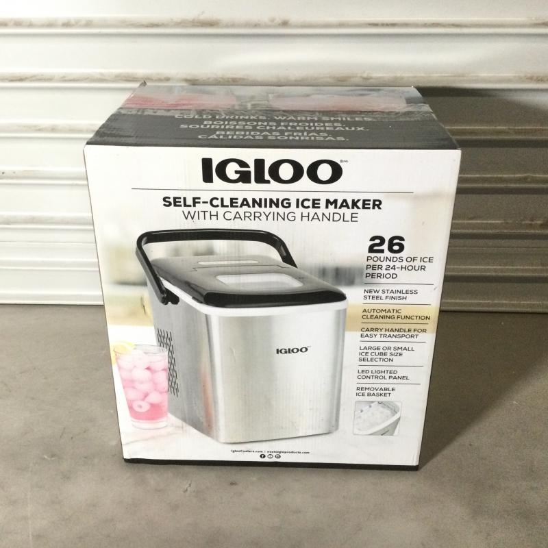 Igloo Iceb26hnss Automatic Self Cleaning Portable Electric Countertop Ice Maker Machine With Handle 26 Pounds In